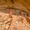 Ancestral Pueblo structures panorama with canyon view , Bears Ears National Monument and environs, San Juan County, Utah