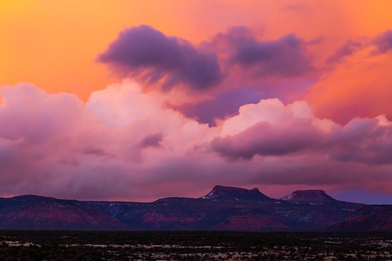 Sunset over the Bears Ears formation, Bears Ears National Monument, San Juan County, Utah