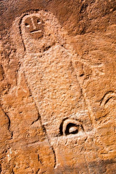 Anthropomorph with vulva, Ute petroglyph, Bears Ears National Monument and environs, San Juan County, Utah