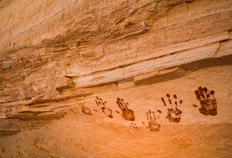 Ancestral Puebloan painted handprints, Bears Ears National Monument and environs, San Juan County,  Utah
