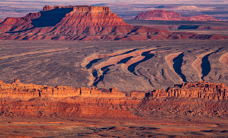 Sunset at Valley of the Gods and environs, Bears Ears National Monument, San Juan County, Utah