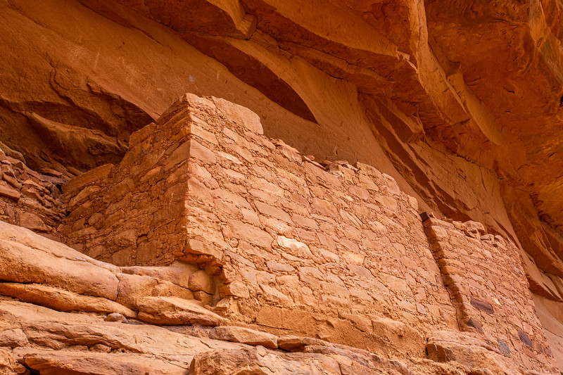 Ancestral Pueblo structure with crane pictographs, Bears Ears National Monument, San Juan County, Utah