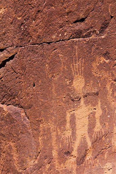 Basketmaker anthropomorph petroglyph with incised details, Bears Ears National Monument and environs, San Juan County, Utah