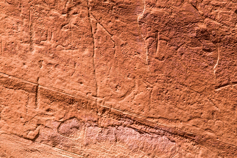 Faded petroglyph possibly depicting a Columbian mammoth (lower right), Bears Ears National Monument and environs, San Juan County, Utah