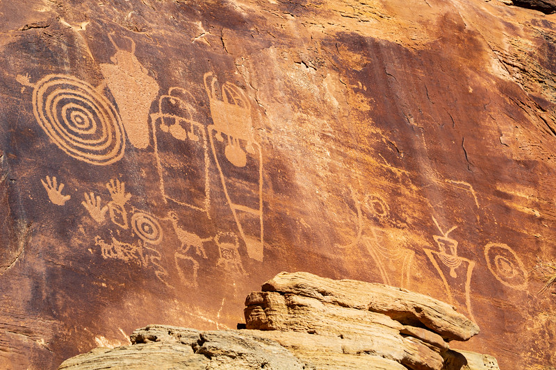 Wide view of Fremont panel with anthropomorphs and spirals, Bears Ears National Monument and environs, San Juan County,  Utah