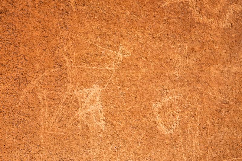 Historic Native American incised petroglyphs depicting a horse and rider, Bears Ears National Monument and environs, San Juan County, Utah