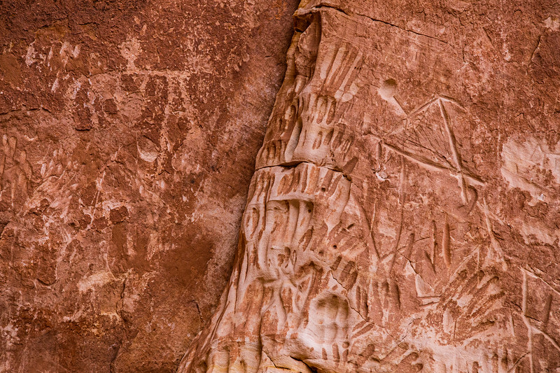 Basketmaker petroglyphs and deeply incised hands, Kachina Bridge, Natural Bridges National Monument, San Juan County, Utah
