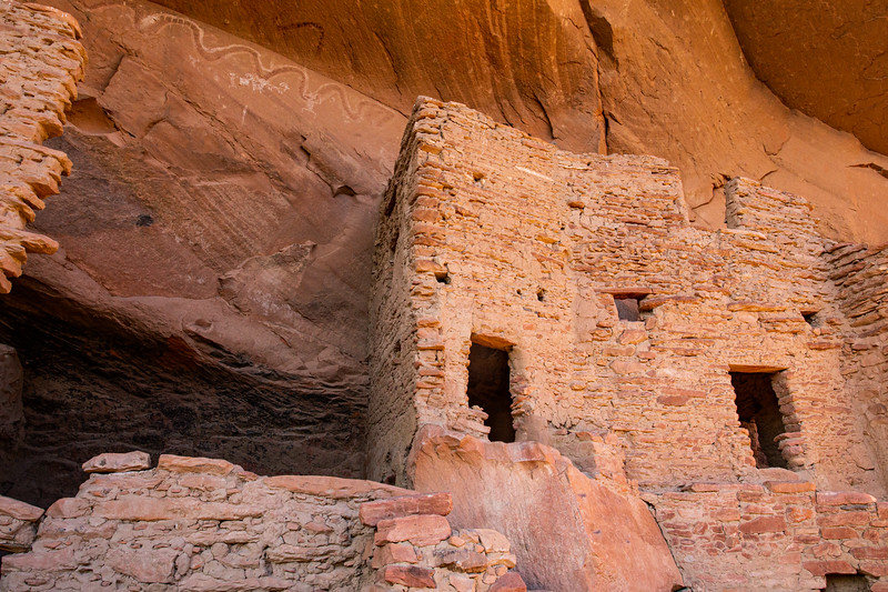 'River House', Ancestral Pueblo structure and pictographs , Bears Ears National Monument and environs, San Juan County, Utah