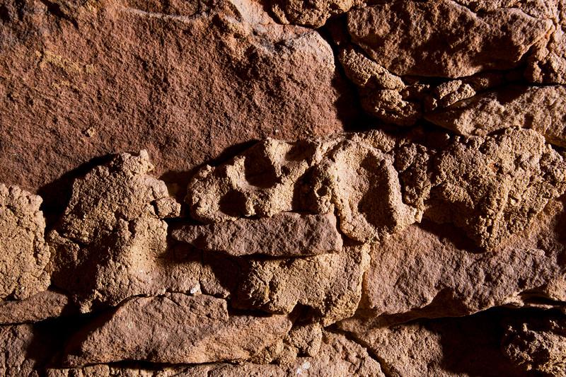 Footprint in mortar, Ancestral Pueblo structure , Bears Ears National Monument and environs, San Juan County, Utah