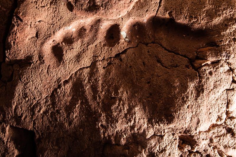Baby footprints in mortar of structure, Ancestral Pueblo, Bears Ears National Monument, San Juan County, Utah
