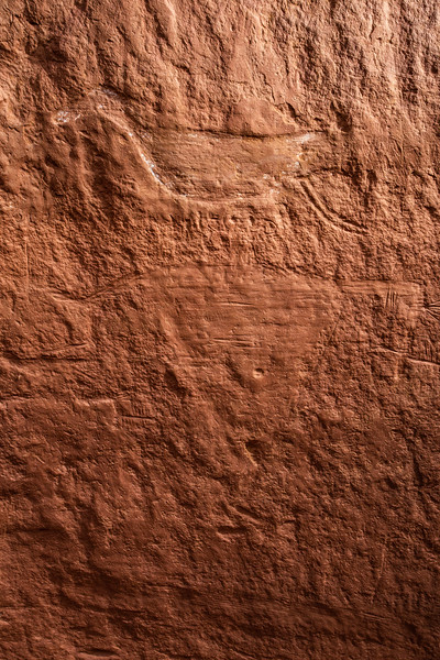 """Duck-headed"" figure with drilled eyes, Basketmaker petroglyphs, Bears Ears National Monument, San Juan County, Utah"