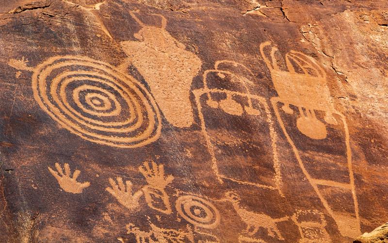 Closeup of high Fremont petroglyphs, Bears Ears National Monument and environs, San Juan County,  Utah