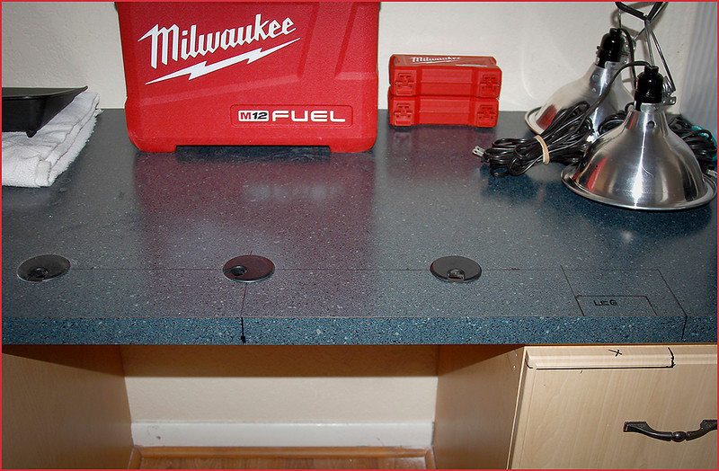 SIMULATOR LAY-OUT ON THE RIGHT ALCOVE CONSOLE TOP - WIRING HOLES DRILLED - CONSOLE TOP DRAWER CUT-OUT MARKED