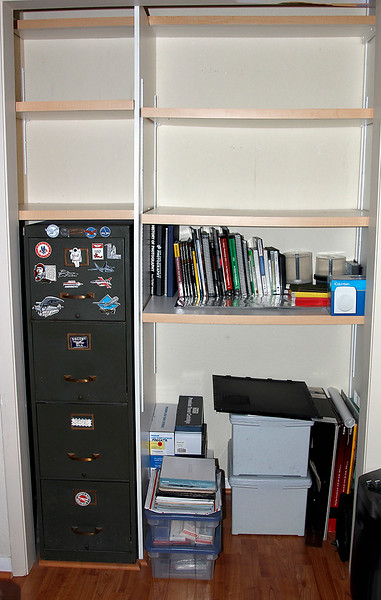 LEFT ALCOVE SHOWING BASIC SHELF STRUCTURE AND FILING CABINET
