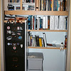 LEFT ALCOVE - SECOND CABINET INSTALLED (OLDER AVIATION BOOKS IN-PLACE WITH SOME OF THE INK BOTTLE COLLECTION ON TOP) - SHELVES INSTALLED (AVIATION BOOKS TOP AND PHOTOGRAPHY BOOKS BOTTOM) - FILE BOXES ON FLOOR