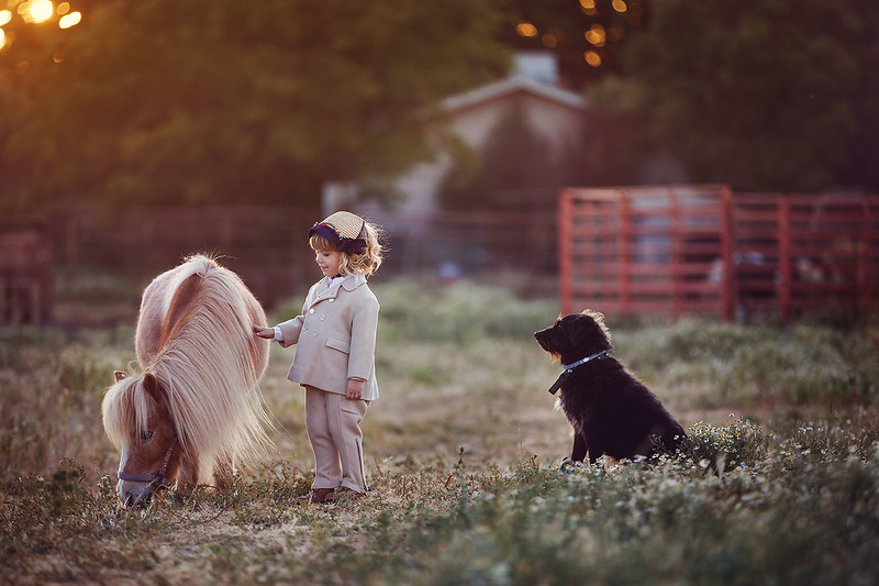 Sacramento children photographer during outdoor portrait session with a pony. Kids pictures by Bidun Studio Photography.