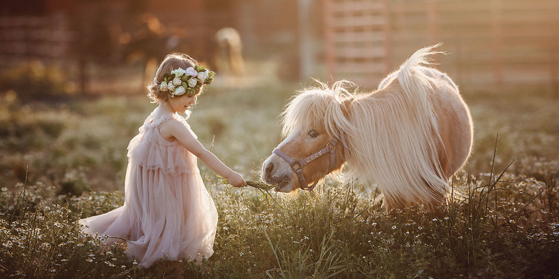 Sacramento children photographer during outdoor portrait session with pony. Kids pictures by Bidun Studio Photography.