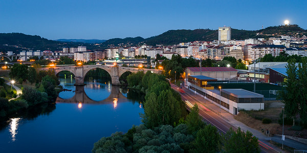Roman Bridge and Rising Moon, Ourense, Spain