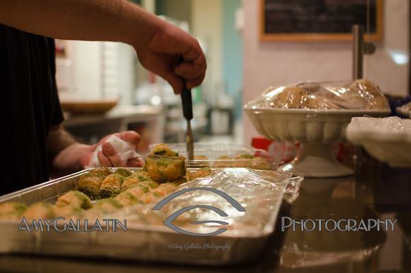 Man serving baklava