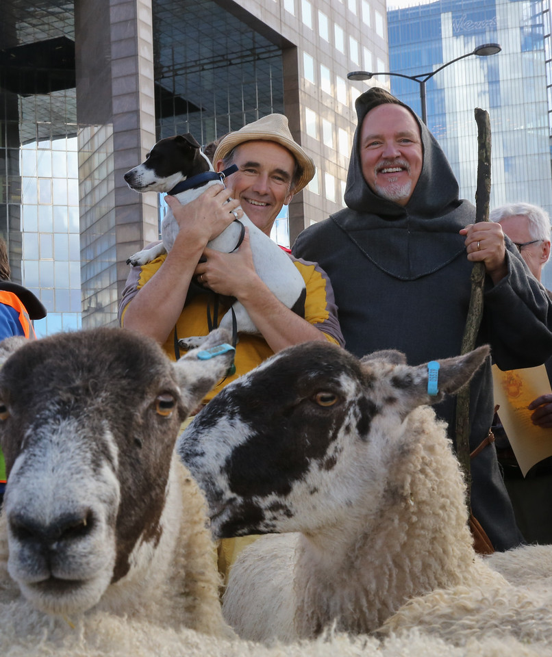 Mark Rylance and dog at London Bridge Sheep Drive