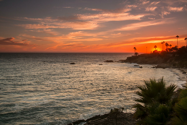 August 25, 2014: Sunset at Heisler Park in Laguna Beach.