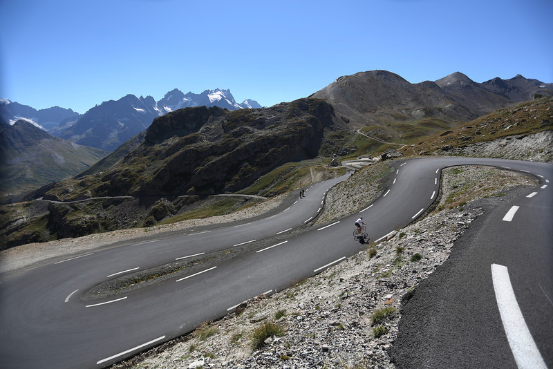 Cyclists on the Col du Galibier, French Alps