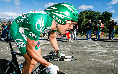 Christophe Kern France / Credit Agricole tops Ballard Canyon climb in Amgen stage 5 time trial at Solvang.