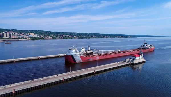 Laker John G Munson entering the the Shipping Canal on a warm summer day!