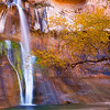 Lower Calf Creek Falls in autumn, Escalante / Grand Staircase National Monument, Garfield County, Utah