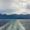 Ferry wake view of Howe Sound, British Columbia, Canada
