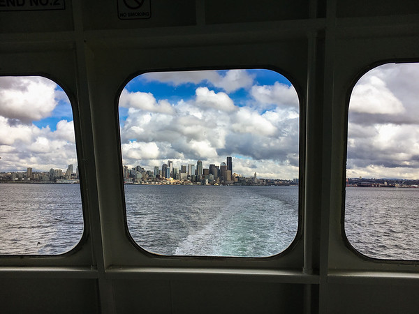 Ferry window views of the Seattle skyline, WA USA