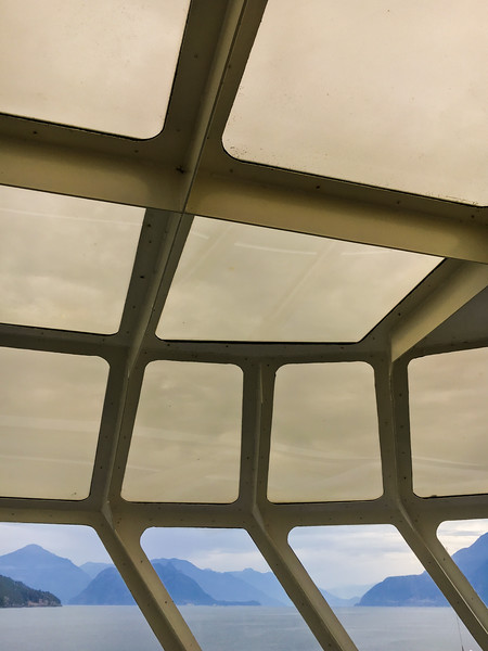 Ferry window view of Howe Sound, British Columbia, Canada