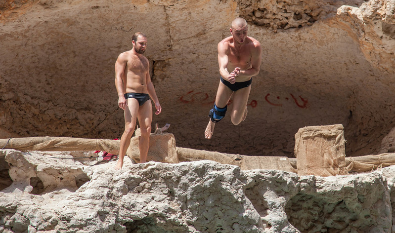 Artem Silchenko(in the air) and Kent De Mond having some fun in between sets.
