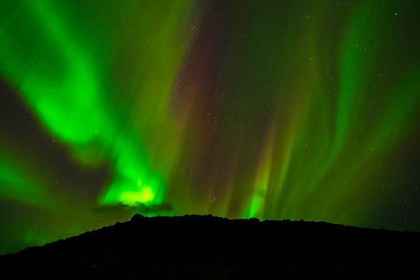 Northern lights at Jökulsárlón Glacier River lagoon, Iceland