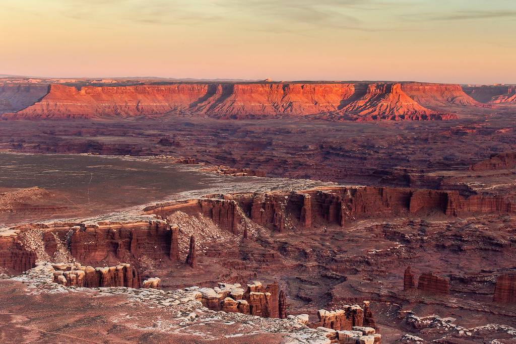 Sunset glow, Grand Viewpoint, Island in the Sky Unit, Canyonlands National Park, Utah