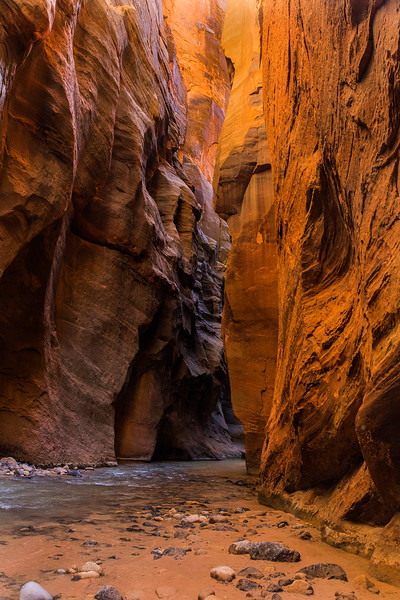 Cliffs and Virgin River,  Zion Narrows, Zion National Park, Utah