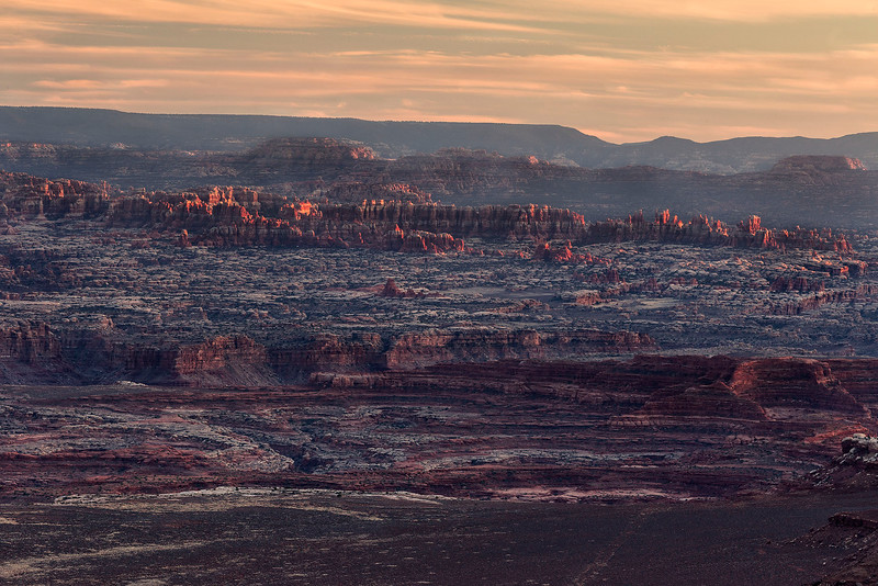 Last glow of sunlight on The Needles, from Grand Viewpoint, Island in the Sky Unit, Canyonlands National Park, Utah