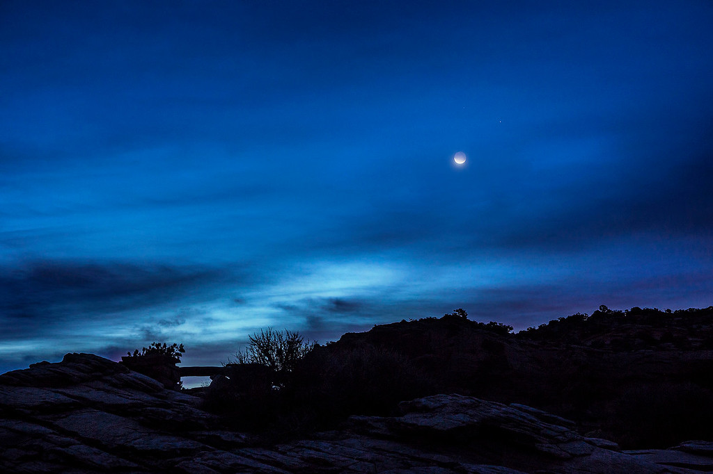 Crescent moon and Jupiter, Island in the Sky Unit, Canyonlands National Park, Utah