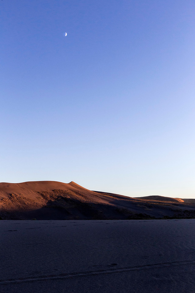 Dusk with crescent moon, Bruneau Dunes State Park, Idaho