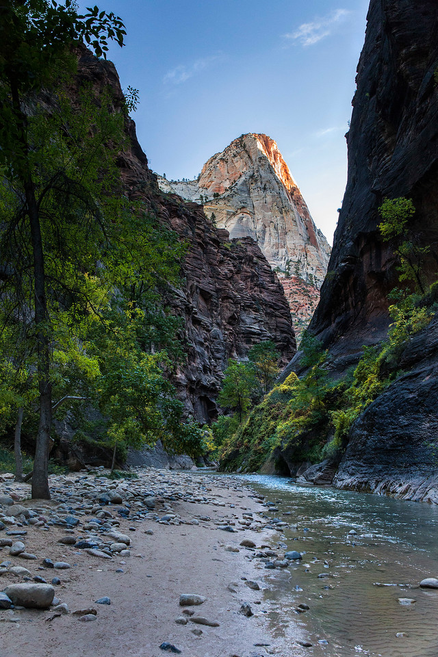 Sunrise on high buttes, Zion Narrows, Zion National Park, Utah