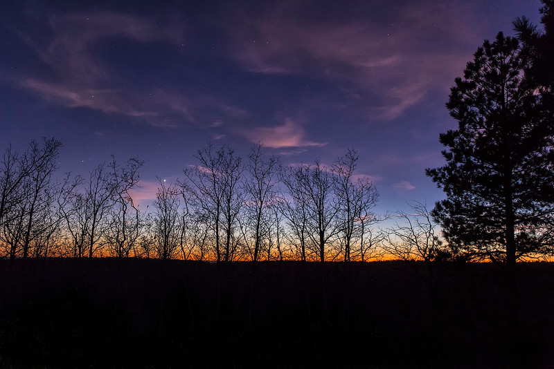 Last glow of daylight, Campground, North Rim, Grand Canyon National Park, Arizona
