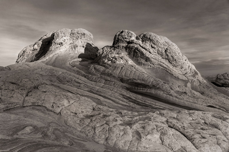 Early first light, rock formations rendered in B&W, White Pocket, Vermillion Cliffs National Monument, Arizona