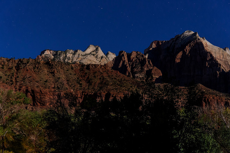 Moon light in  Zion canyon, Zion National Park, Utah