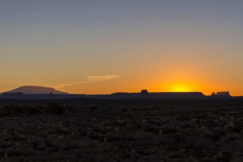 Sunrise and Navajo Mountain, Lake Powell, Arizona