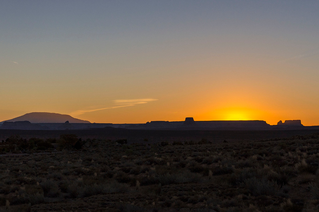 Sunrise and Navajo Mountain, Lake Powell, Arizona