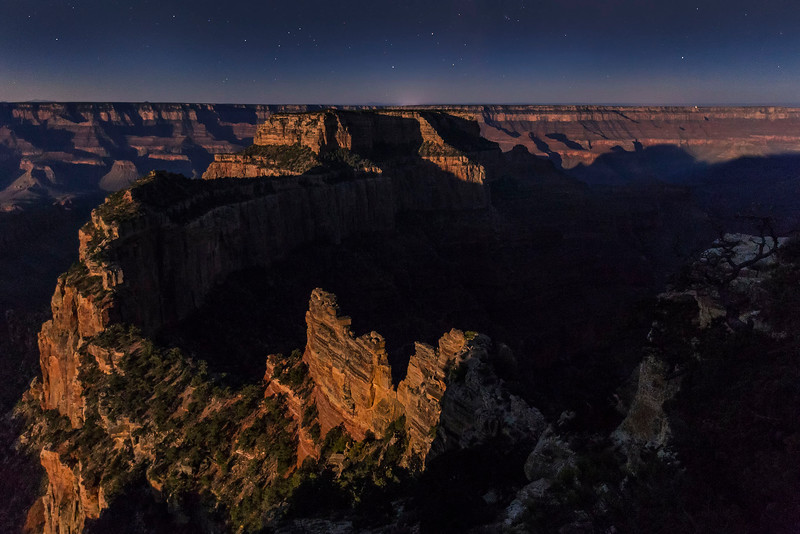 The glow of the full moon, Cape Royal, North Rim, Grand Canyon National Park, Arizona