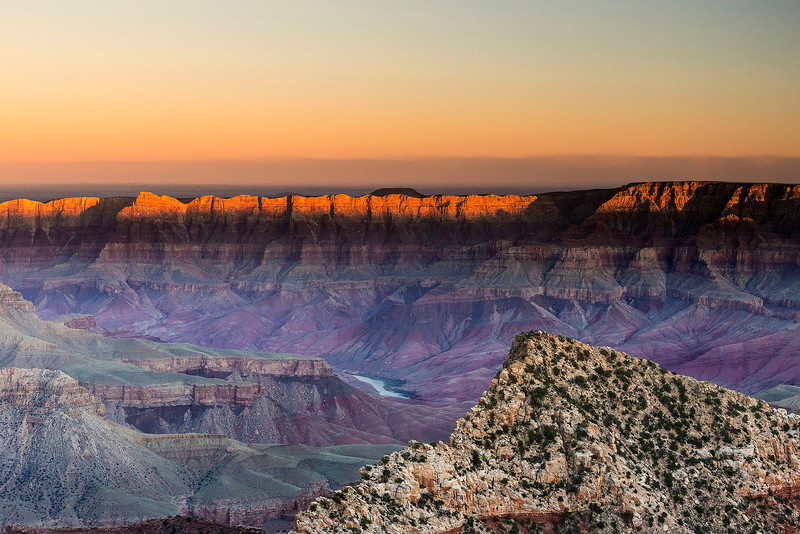 Sunset on the South Rim, from the North Rim, Grand Canyon National Park, Arizona