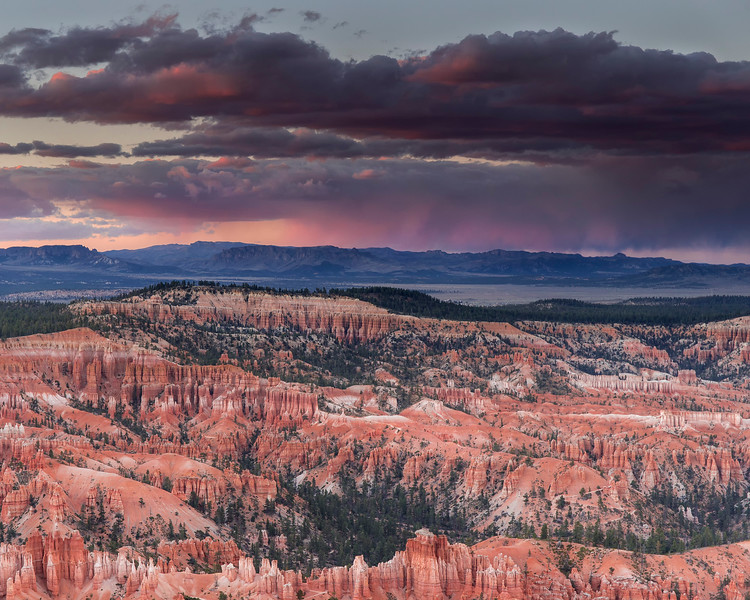 Thunderstorm from rim, Bryce Canyon National Park, Utah