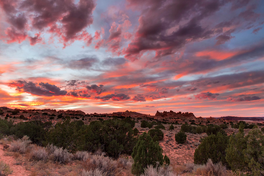 Sunset, looking into Coyote Buttes South from Cottonwood Cove trail head, Vermillion Cliffs National Monument, Arizona