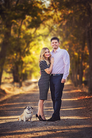 Family portrait photography at outdoor location by Sacramento top family photographer Sergey Bidun. Golden fall portraits of couple and a dog.
